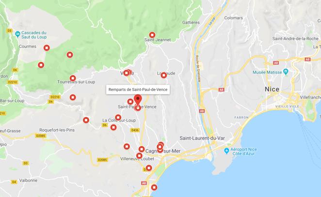carte des activités autour de saint-paul de vence arrière-pays niçois